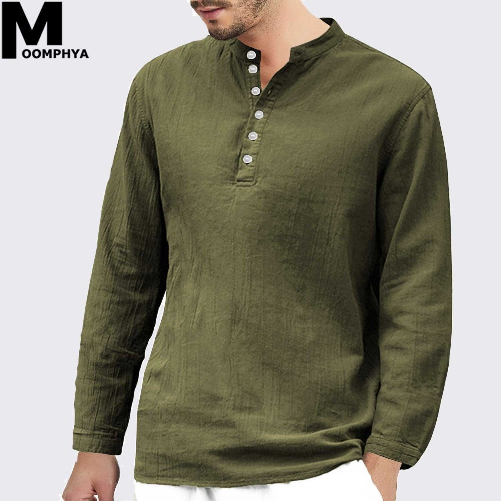 custom novel style variety of designs and colors US $15.39 40% OFF Moomphya 2019 Streetwear Casual Cotton Linen Long Sleeve  t shirt men Henley collar T Shirt Hip hop solid color male tshirt-in ...
