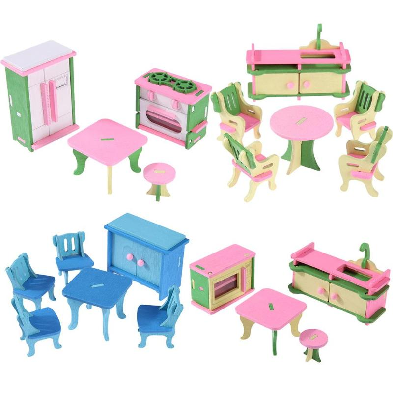 Kids Bedroom Furniture Kids Wooden Toys Online: Mini Wooden Simulation Dollhouse Furniture Set Kids