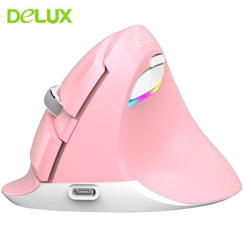 Delux M618 Wireless Bluetooth Mouse Vertical Ergonomic Rechargeable Mice Dual Mode 2.4G Mice Mute Mause for PC Laptop Desktop