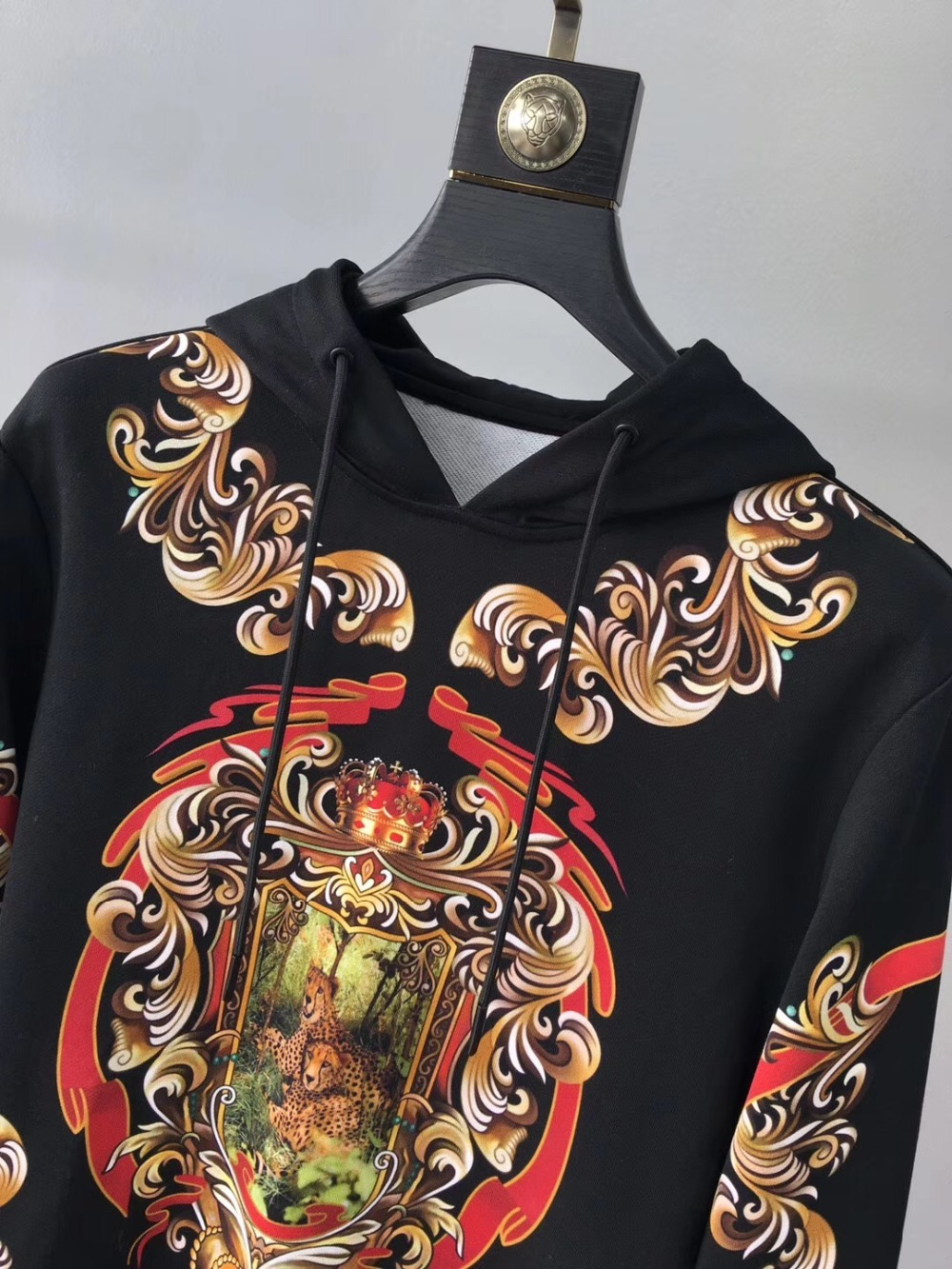 2019 Весна Новое поступление моды цветок цветочный Леопардовый принт Ретро винтажные мужские свитера и толстовки Дизайнерская одежда - 2