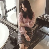 Women Embroidery Knit Sweater Two Piece Sets Tweed Wool Geometric Print 2 Piece Suits Winter Long Sleeve Casual Suits