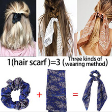 Floral Leopard Elastic Hair Bands Scrunchies Ties Scarf Boho Streamers Bow Rope Horsetail Stripe