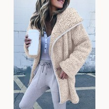 Women Faux Fur Teddy Coat Fashion Slim 2018 Winter Warm Jacket Elegant Female Lapel Overcoat Plus Size Outerwear