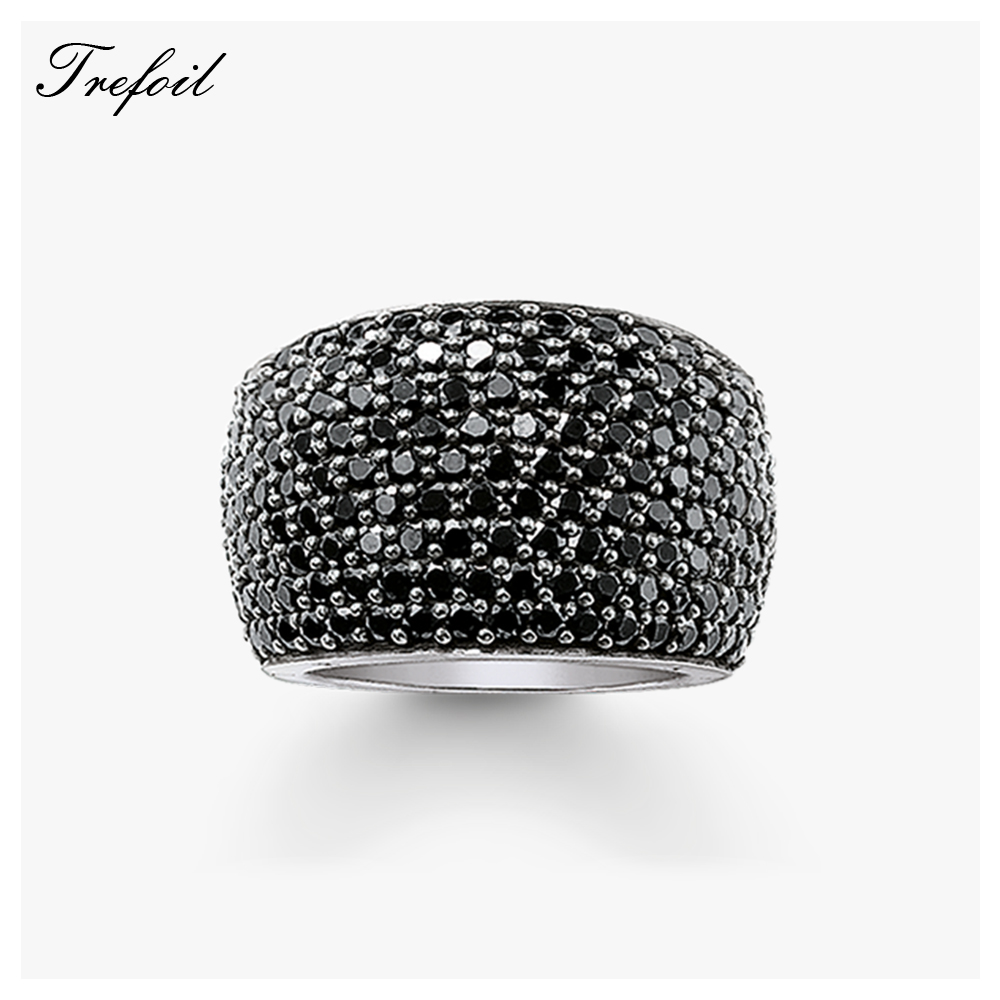 Black CZ Cocktail Rings, 925 Sterling Silver Blue Stone Fashion Jewelry Trendy Anniversary Gift For Women And Men 2018 New
