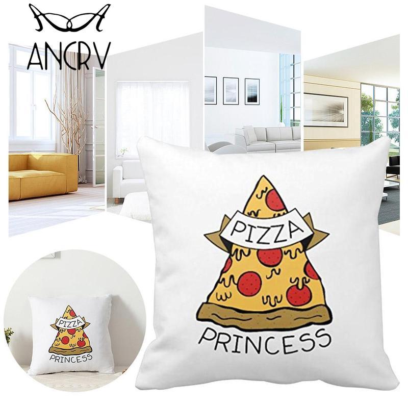 Ancrv Cute Pizza Princess Printed Cushion Covers 45x45cm