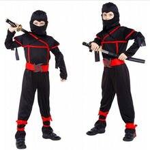 Déguisement d'halloween pour enfants, noël, nouvel an, garçons noirs, ninja, tueur, guerrier, purim, cosplay