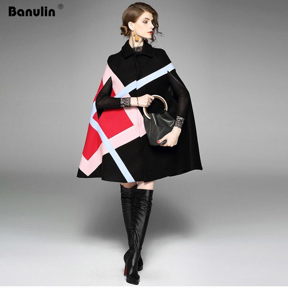 New 2019 Fashion Women Winter Jacket Geometric Pattern Batwing Sleeve Woolen Warm Cloak Ponchos Cape Coat
