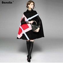 Yeni 2019 Moda Kadın Kış Ceket Geometrik Desen Batwing Kollu Yün Sıcak Pelerin Pançolar pelerin palto Yün Karışımları Giyim