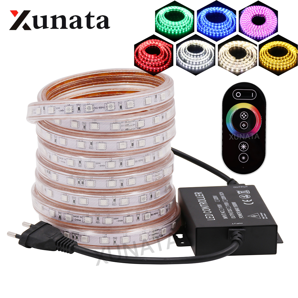 5050 RGB LED Strip Waterproof 220V EU Touch Remote 24Key LED Light Lamp 60LEDs/m 120LEDs/m Double Row Flexible Tape LED Light
