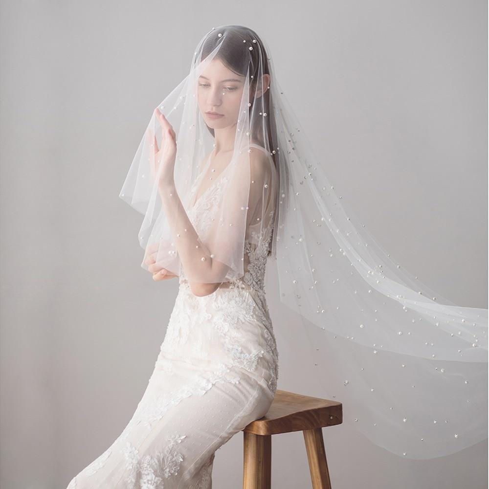 Long Wedding Hairstyles With Veil: New Elegant Long Wedding Veils Hair Faux Pearls Brides