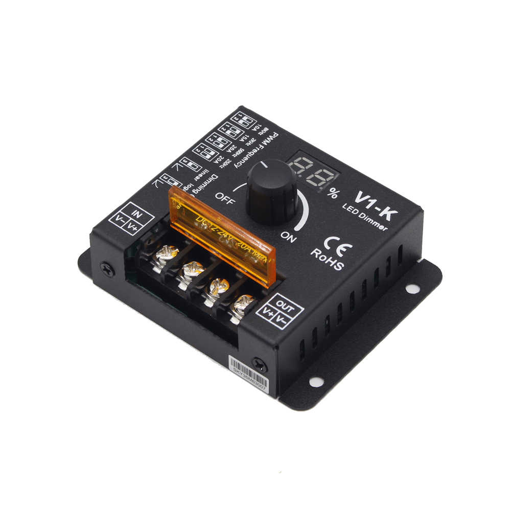 Светодиодный диммер 12 V 24V 20A поворотный PWM Беспроводной диммер с регулируемой частотой ручка Светодиодные ленты Диммер 12 вольт для освещения V1-K