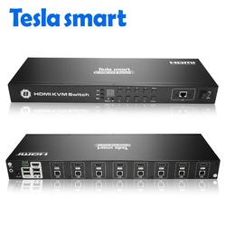 Tesla smart USB HDMI KVM переключатель 8 портов KVM поддержка 4K 30Hz Ultra HD и USB 2,0 порты порт клавиатуры и мыши или LAN порт
