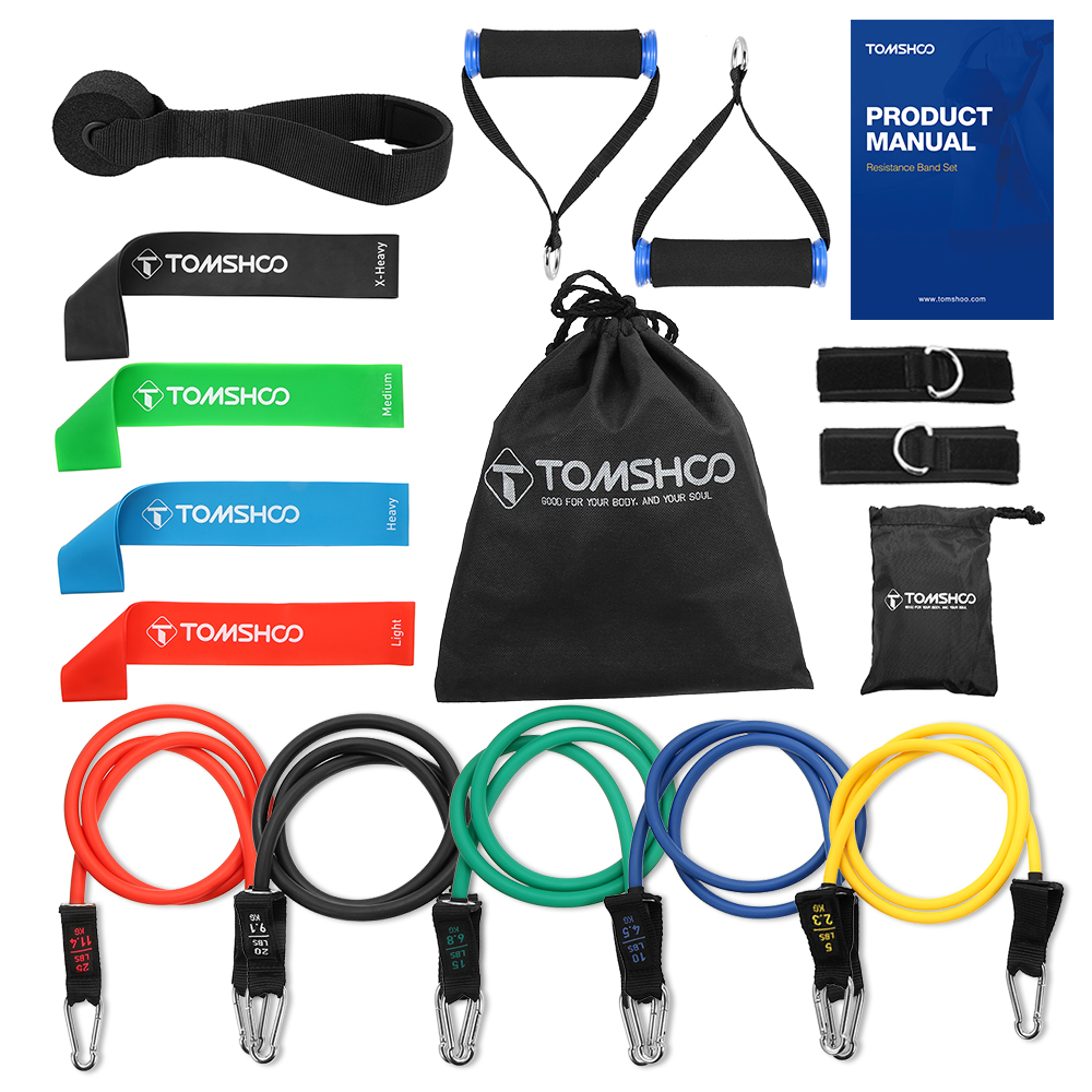 TOMSHOO 17Pcs Resistance Bands Set kit Workout Fintess Equipments Exercise Bands Loop Tube Door Anchor Ankle Straps home tools