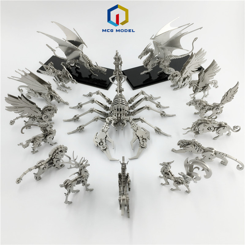 3D Metal Model Chinese Zodiac Dinosaurs Western Fire Dragon  DIY Assembly Models Toys Collection Desktop For Adult Children