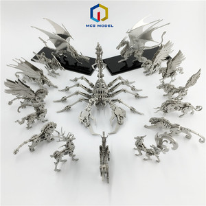 3D Metal Model Chinese Zodiac Dinosaurs western fire dragon DIY Assembly models Toys Collection Desktop For Adult Children(China)