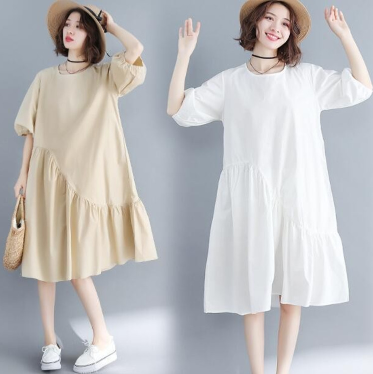 0114 Summer White Khaki Half Lantern Sleeve Dress Women Plus Size Loose Round Neck A Line Patchwork Ruffles Dresses Ladies in Dresses from Women 39 s Clothing
