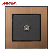MVAVA TV Wall Decorative Receptacle Smart Hotel Television Outlet Plug Luxucy Gold Satin Metal Free Shipping