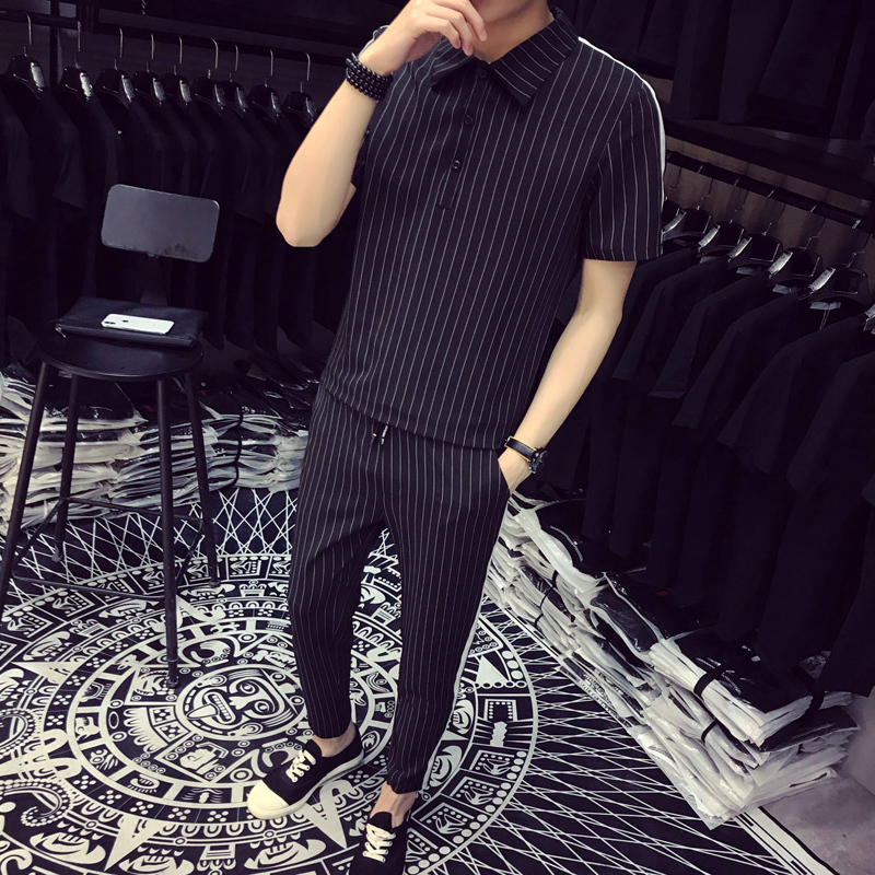 2019 Fashion Pattern Stripe Two Piece Set Top+Short Fancy Designer Men Tracksuit Men Set Slim Fit Social Club Outfits Men Set