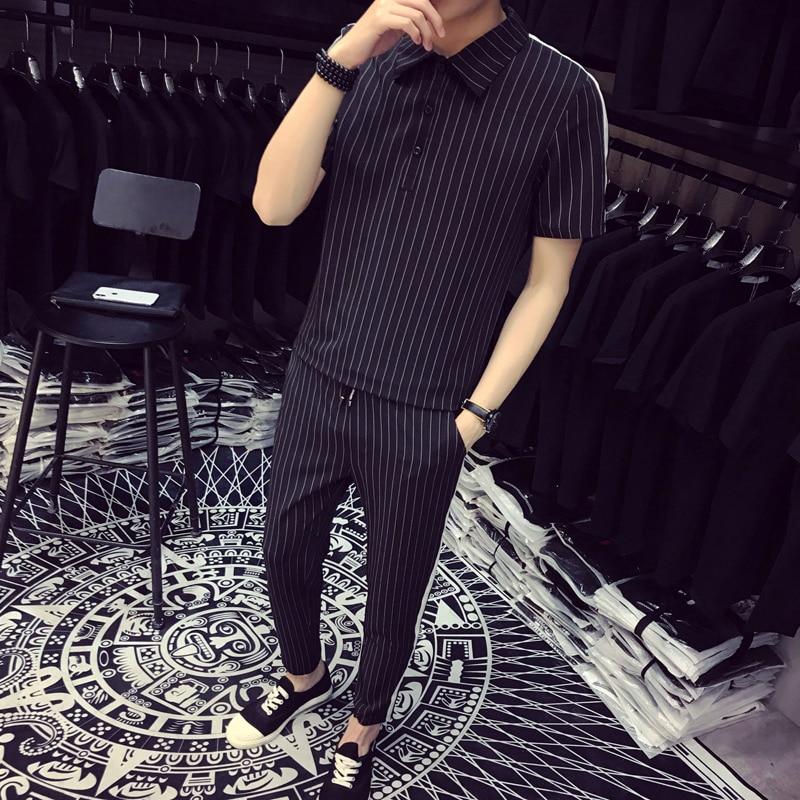 2019 Fashion Pattern Stripe Two Piece Set Top+Short Fancy Designer Men Tracksuit Men Set Slim Fit Social Club Outfits Men Set
