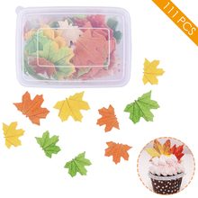 111Pc Maple Leaves Edible Wafer Rice Paper Cake Topper Glutinous Cream Decoration Birthday Wedding Tools