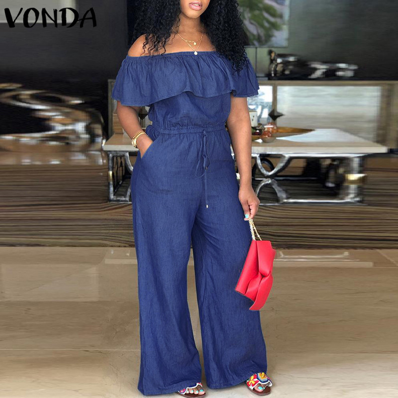 VONDA Plus Size Women Rompers   Jumpsuit   2019 Summer Overalls Sexy Slash Neck Off Shoulder Ruffles Denim Playsuits Wide Leg Pants