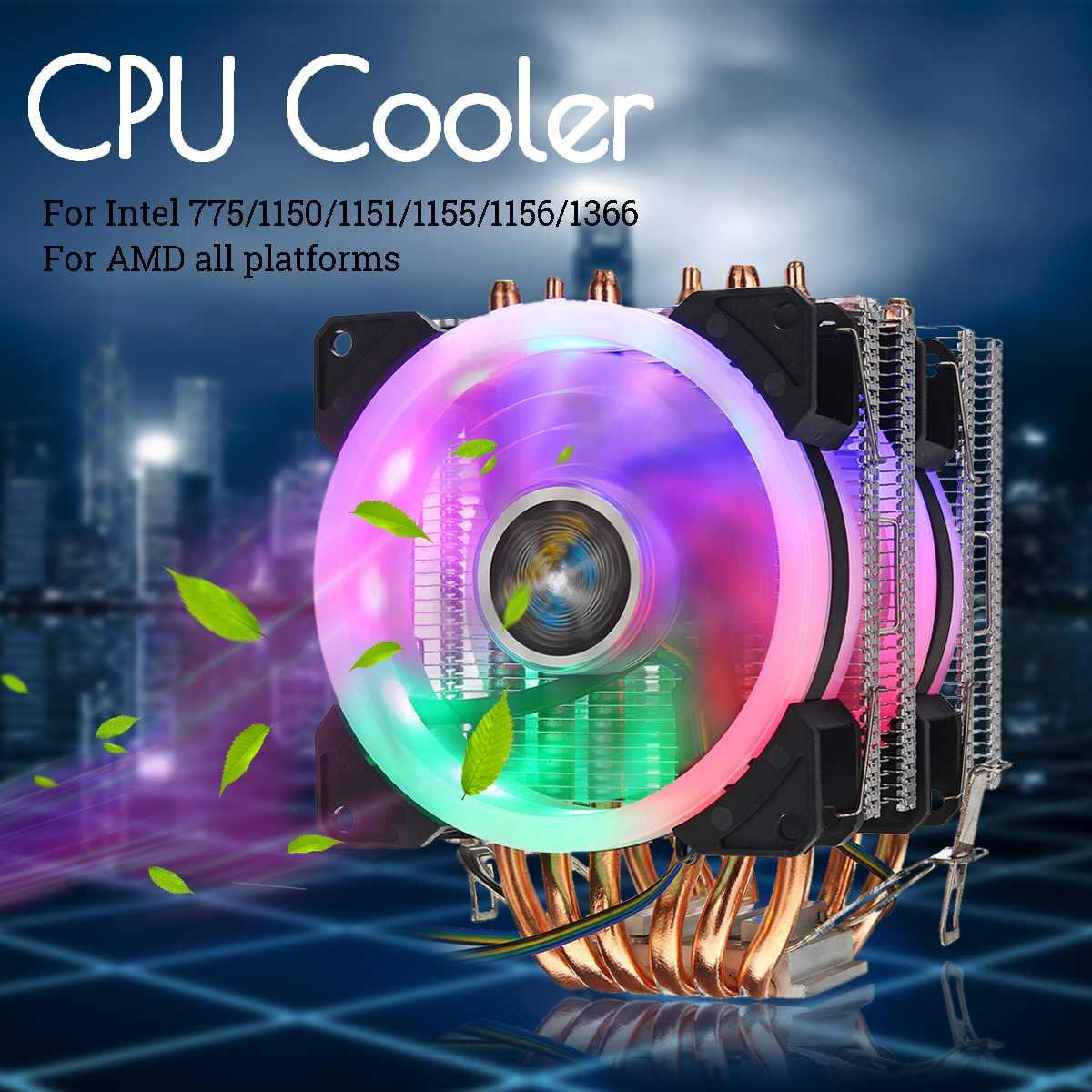 6 Heatpipe CPU Cooler Fan 4Pin RGB LED Dissipador de Calor Do Radiador de Refrigeração Ventilador Silencioso para Intel 775/1150/1151 /1155/1156/1366 Tudo para AMD
