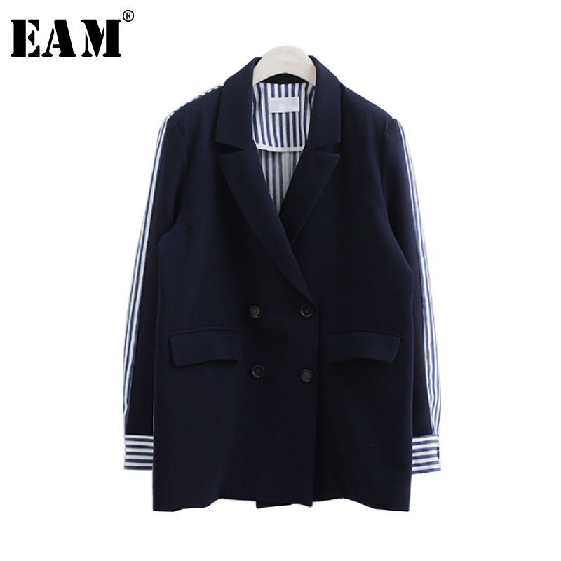 [EAM] 2019 Spring Summer Fashion Full Sleeve Striped Spliced Turn-down Collar Double Breasted New Jacket Women's Coat LA100