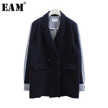 [EAM] 2019 Spring Summer Fashion Full Sleeve Striped Spliced Turn-down Collar Double Breasted New Jacket Women\'s Coat LA100 - Category 🛒 Women\'s Clothing