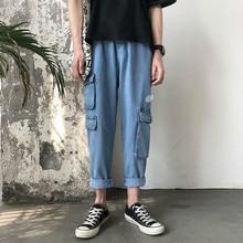 2019 Men's Fashion Trend Baggy Homme Cargo Pocket Jeans men Loose Blue Color Casual Pants Work Biker Denim Trousers Plus Size недорго, оригинальная цена