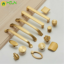 1 pc Various styles Solid Brass Cabinet Knobs and Handles Drawer Furnitures Cupboard Wardrobe golden