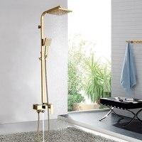 Смесители для ванной роскошные золотые латунь ванная комната смеситель настенный ручной