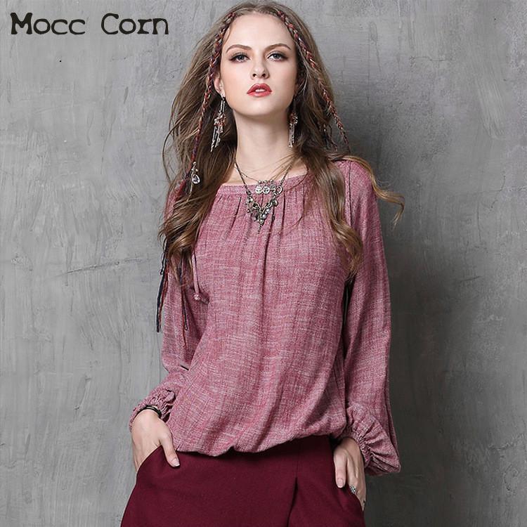 Spring Autumn Pink Cotton Linen Shirts Women Tops Slash Neck Long Lantern Sleeve Loose Slim Vintage Shirt High Quality Blouses