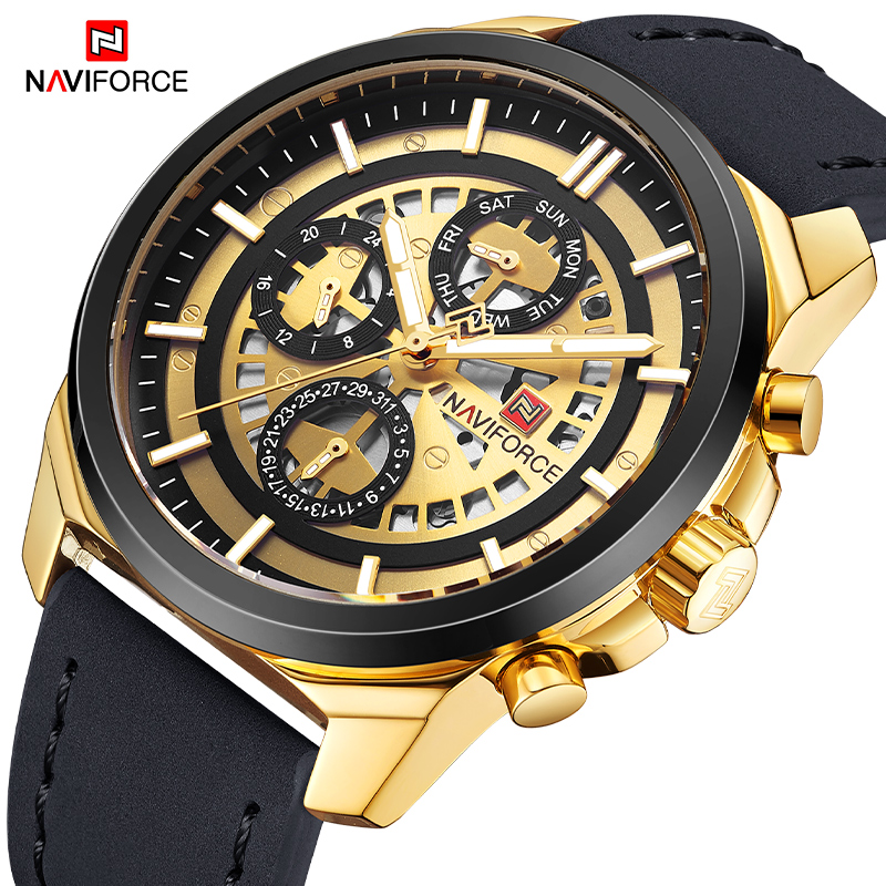 NAVIFORCE New Men Analog Quartz Wrist Watch Fashion Casual Leather Strap Sports Watches Male Clock Waterproof Relogio Masculino new fashion watches men lovely deer head bamboo wood watches quartz clock fashion casual leather strap wrist watch male relogio