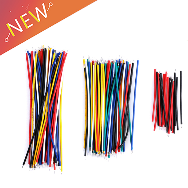 100PCS Tin-plated Breadboard Jumper Kabel Wires 20CM Color Flexible Two Ends AIP