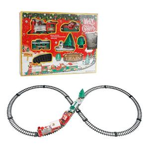 Image 2 - 22PCS Children Track Small Train Toy Electric Light Music Train Simulation Classic Power Train Set new year Holiday Gift for kid