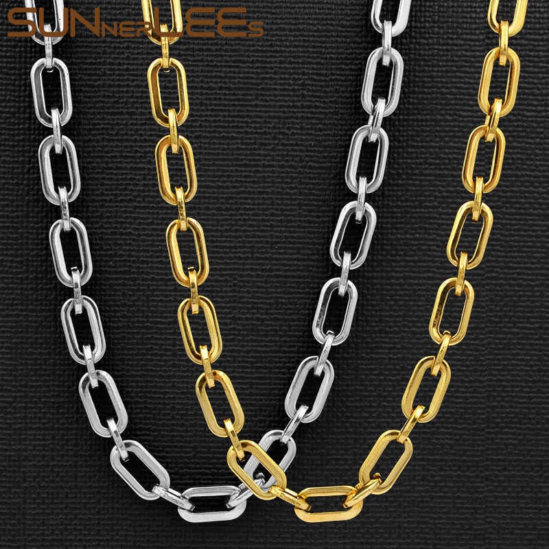 SUNNERLEES Fashion Jewelry 316L Stainless Steel Necklace 7mm Geometric Link Chain Silver Gold Men Women Gift SC160 N