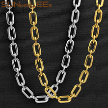 SUNNERLEES Fashion Jewelry 316L Stainless Steel Necklace 7mm Geometric Link Chain Black Gold Silver Color Men Women Gift SC160