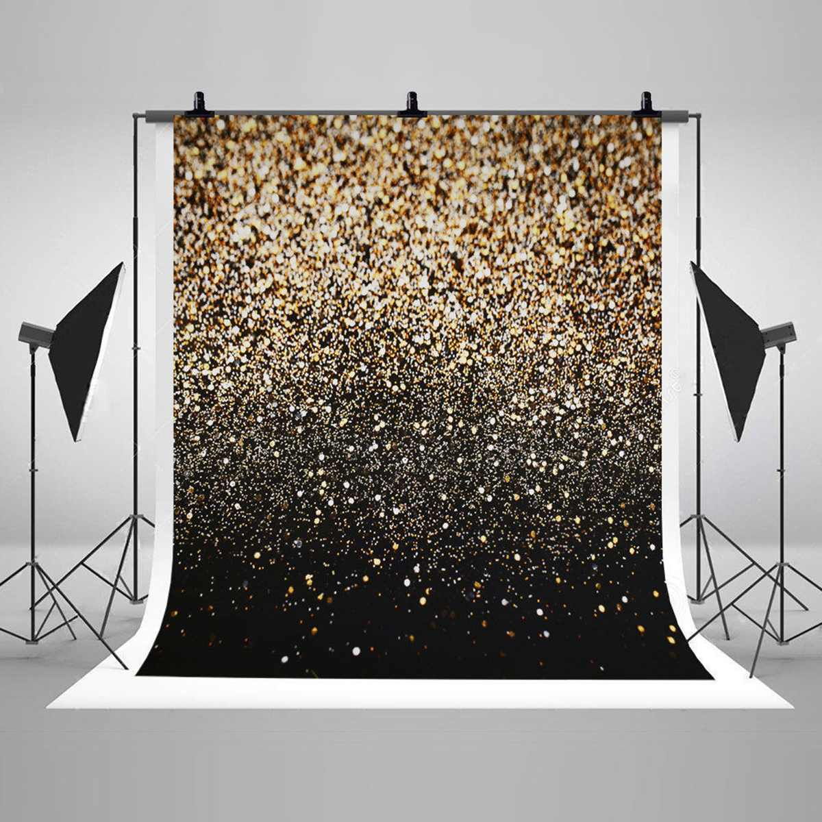 Photographic Background Vinyl Party Glitter Black Gold Dot