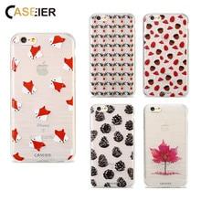 купить CASEIER Lovely Maple Leaf Fox Painting Cartoon Case For iPhone 6 7 6s Plus 5 5s SE Soft TPU Cover Bags For iPhone 6 6s Plus Capa дешево