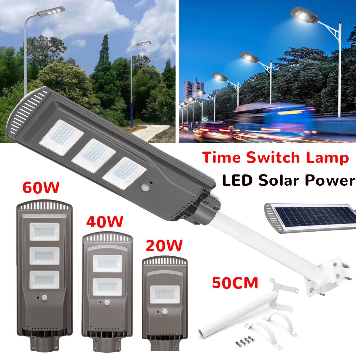 20/40/60W Solar Powered Panel LED Solar Street Light All-in-1 Time Switch Waterproof IP67 Wall Lighting Lamp for Outdoor Garden high lumen 60w all in one solar street light south africa for commerical lighting residential lighting
