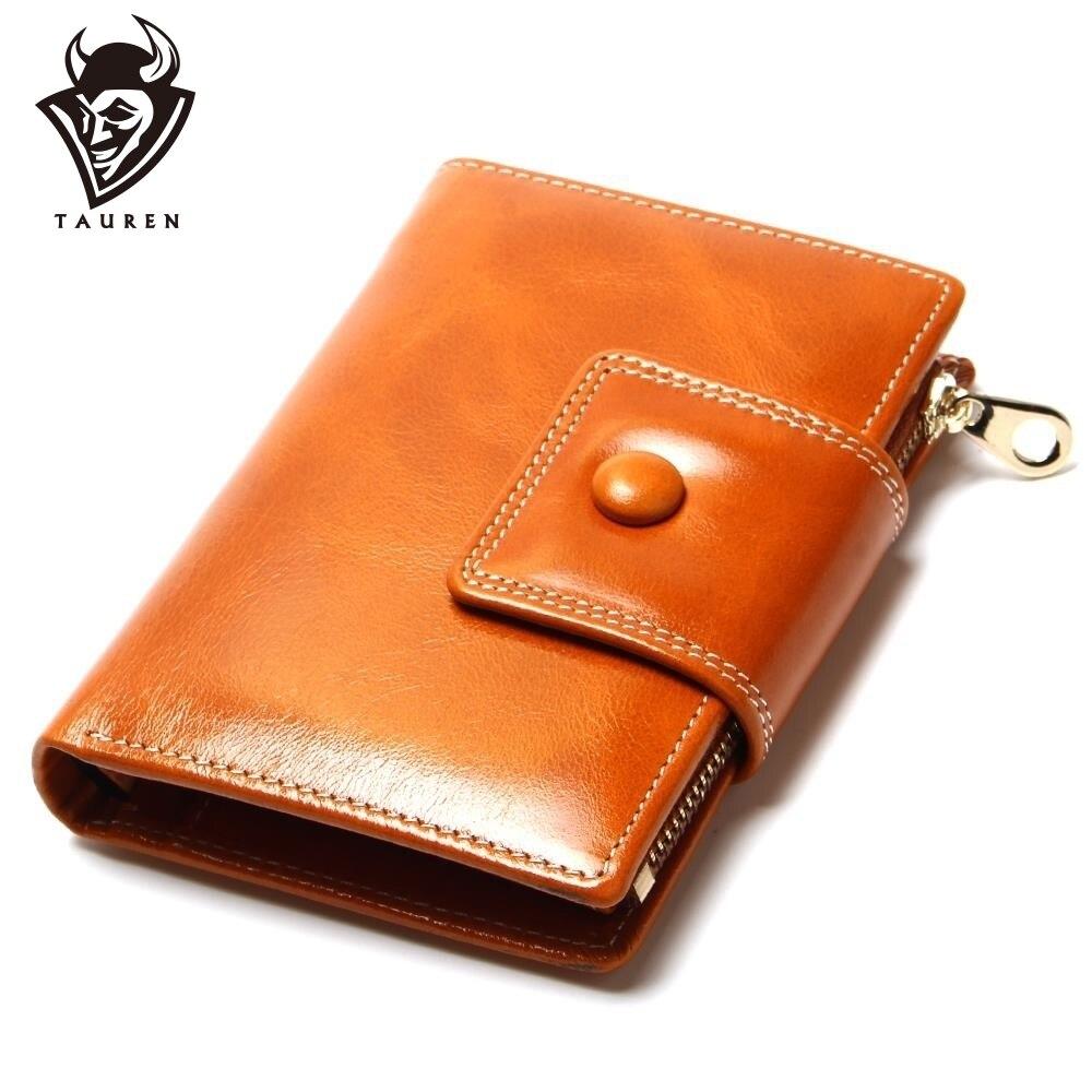 2019 Nové módní peněženky Příležitostné olejové voskové peříčko Dámské kabelky kabelku spojky Značka kůže Dlouhé peněženka Design ruční tašky pro ženy Purse