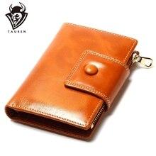 2020 موضة جديدة محافظ عادية النفط الشمع محفظة المرأة محفظة حقيبة صغيرة العلامة التجارية محفظة جلدية طويلة تصميم حقائب اليد للنساء محفظة