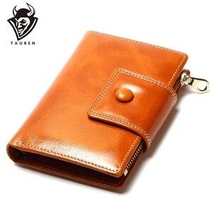 Image 1 - Portefeuille pour femmes en cire dhuile, portefeuille 2020, pochette de marque en cuir, Long, portefeuille Design décontracté