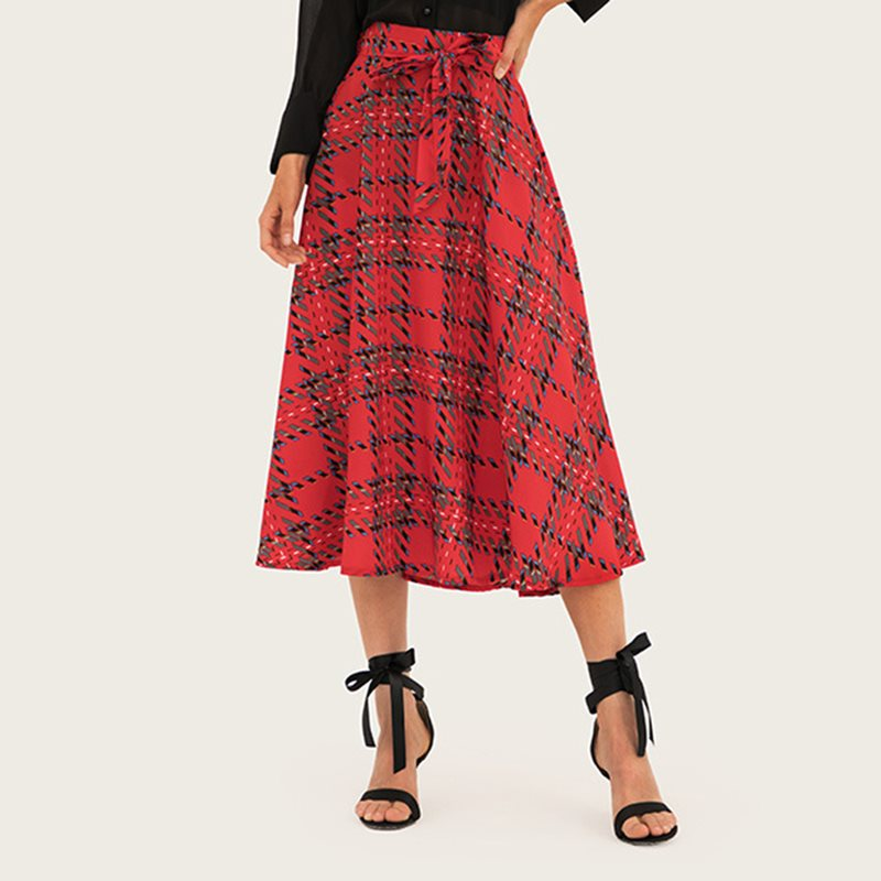 Vintage Plaid Skirt Women 2019 Spring Elegant Street Fashion New Lace Up A Line School Sweet Girl Retro Casual High Waist Skirts