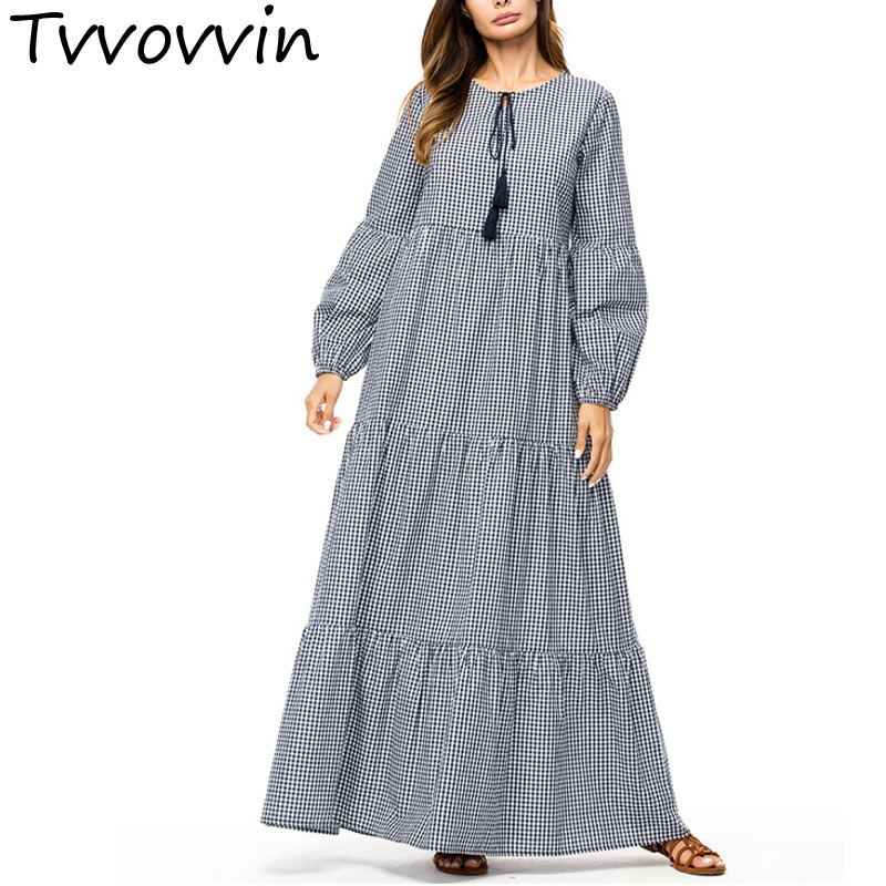 Casual Grid dress Gray Fashion plaid patchwork swing long dress for women plus size Autumn dresses fall clothing R299