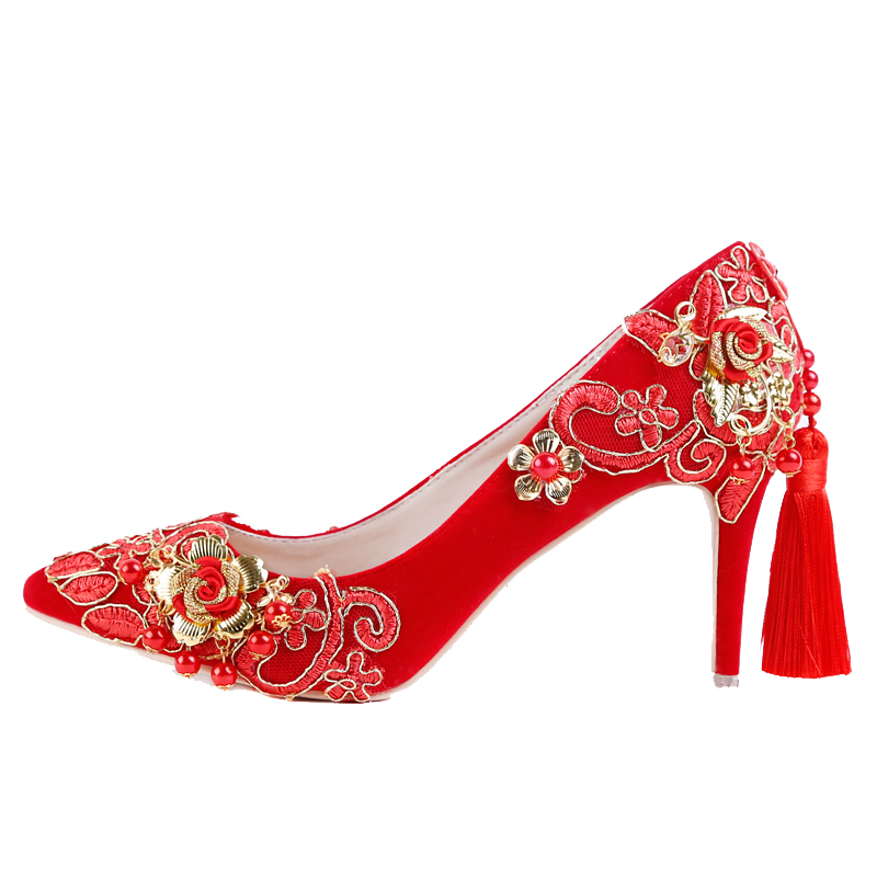Bridal Wedding Shoes Woman Vintage Women Party Dress Shoes Golden Flower Tassels High Heels Ladies Pumps Sweet Femme Footwear