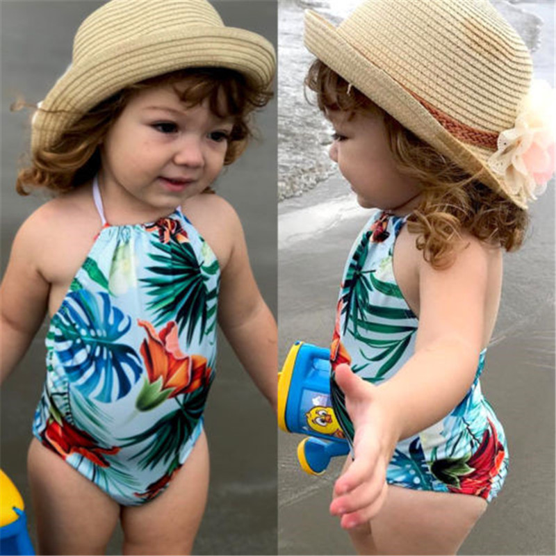 Summer Children 39 s Beach Leaves Printed Bikini New 2019 Toddler Baby Girls One Piece Swimsuit Bathing Tankini Swimwear Beachwear in Children 39 s One Piece Suits from Sports amp Entertainment