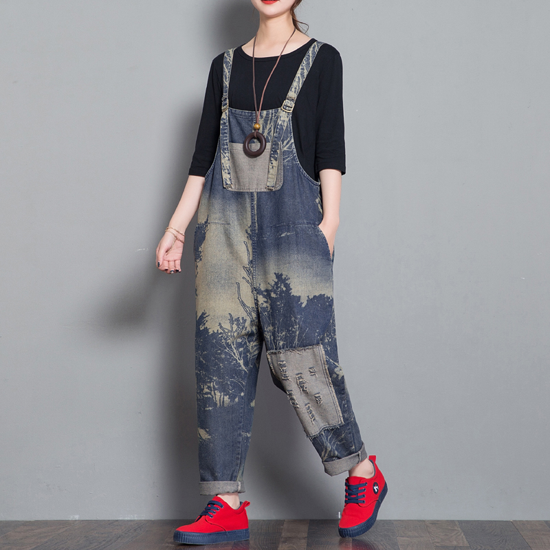 Women Wide Leg Jumpsuits hip hop streetwear Low Drop bib feet jeans Ripped Hole Cowboy Rompers