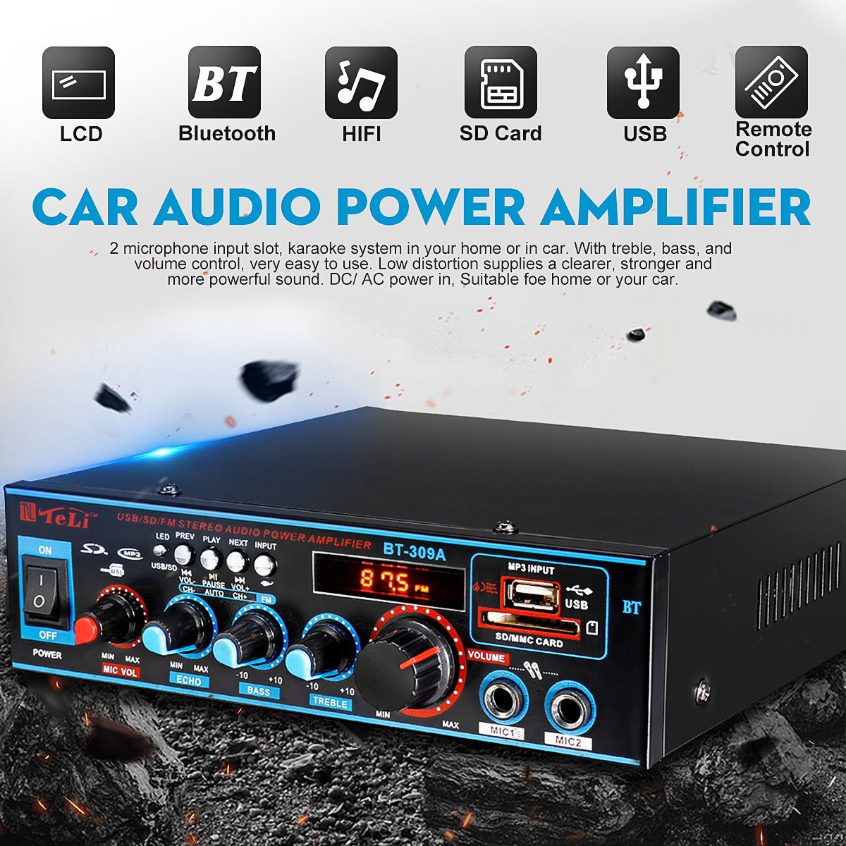 12/220V <font><b>800W</b></font> 2CH Equalizer <font><b>Amplifier</b></font> Audio bluetooth Stereo Power <font><b>Amplifier</b></font> Home Theater <font><b>Amplifiers</b></font> <font><b>HIFI</b></font> FM USB SD Card image