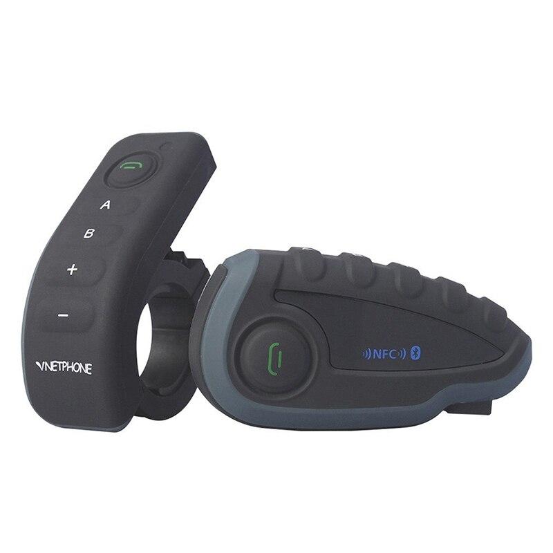 Vnetphone V8 casque de moto Bluetooth Interphone étanche Interphone casque télécommande guidon avec FM NFC Func